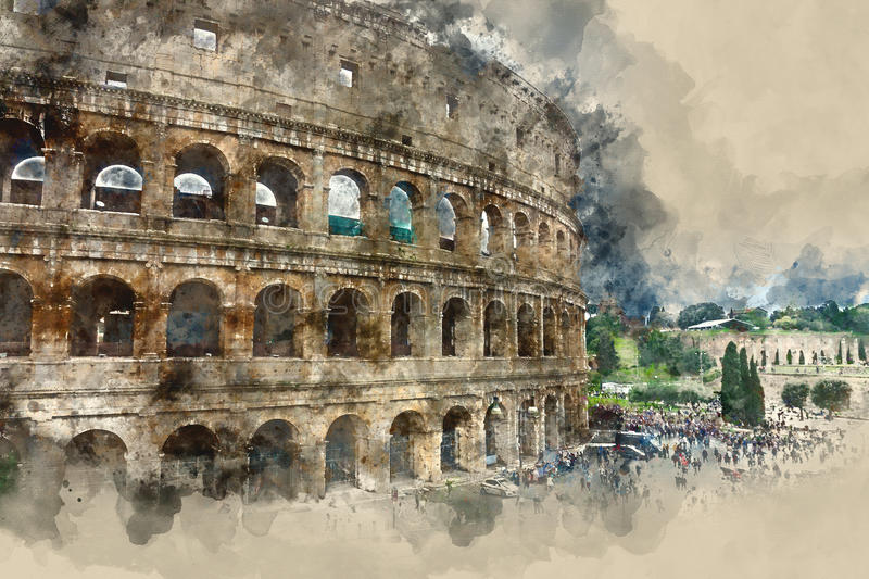 Beautiful Colisseum - the impressive Colosseum of Rome royalty free illustration