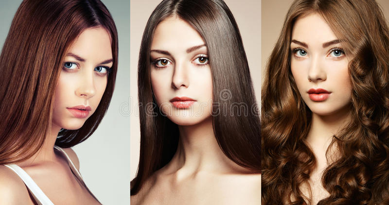 Beautiful collage , faces of women royalty free stock image