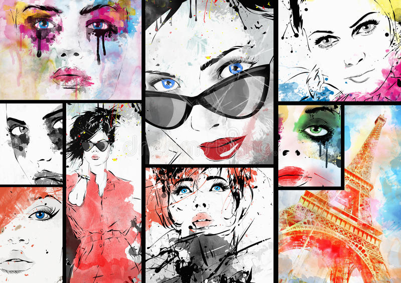 Beautiful collage. Faces of women. Hand painted fashion illustration royalty free illustration