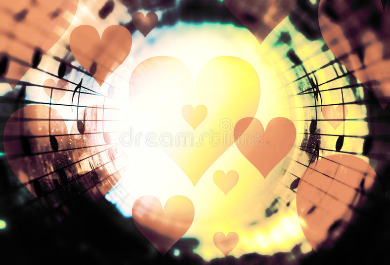 Beautiful collage with hearts and music notes in cosmic space, symbolizining the love to music. stock illustration