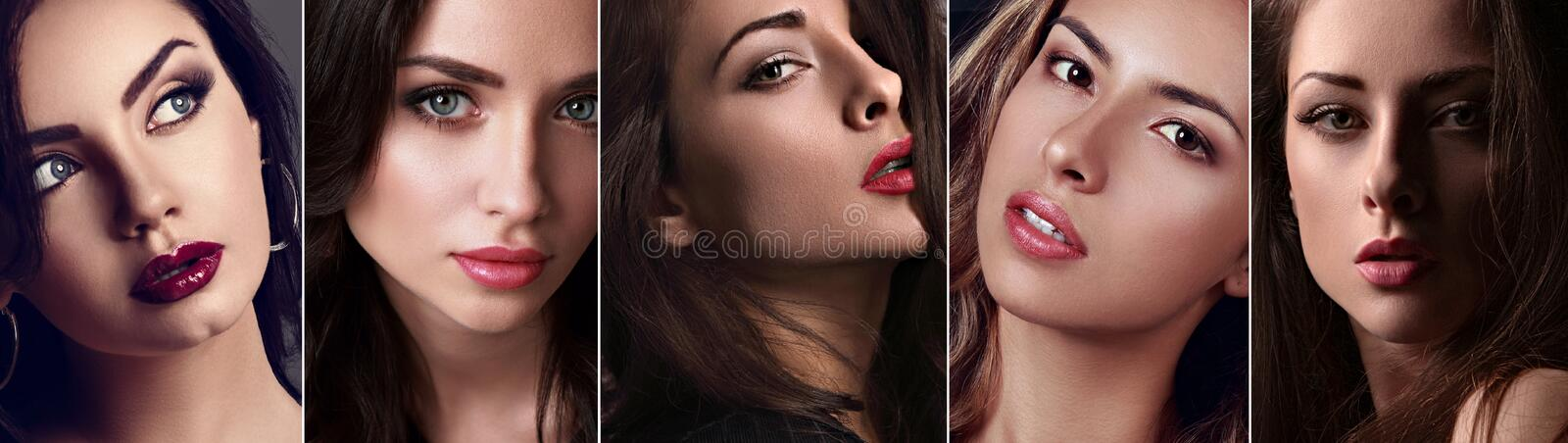 Beautiful collage of sexy bright makeup emotional women with bright lips and effect eyes Closeup stock images