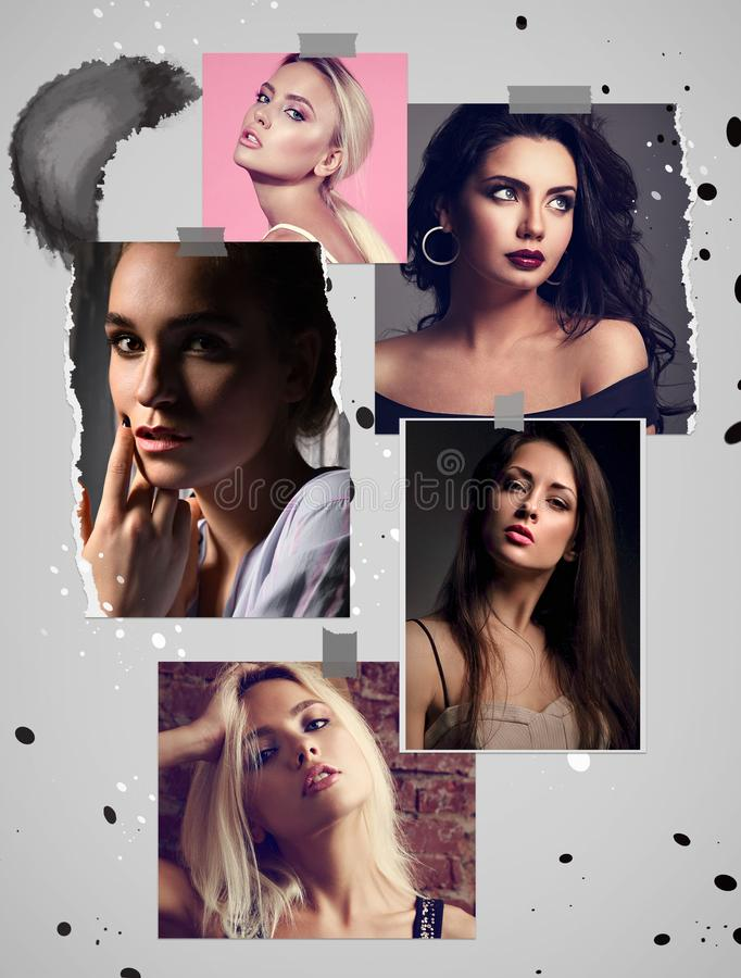 Beautiful collage of sexy bright makeup emotional women with bright lips and effect eyes. Closeup beauty faces. Marketing poster stock photos