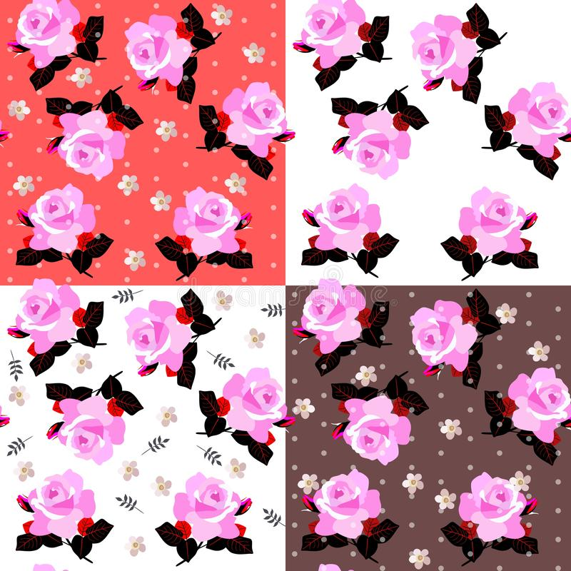 Beautiful collection of four seamless ditsy floral pattern with pink roses on various backgrounds royalty free illustration