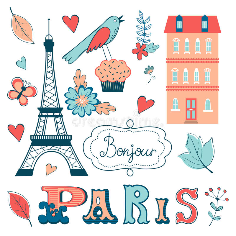 Beautiful collection of paris related graphic royalty free illustration