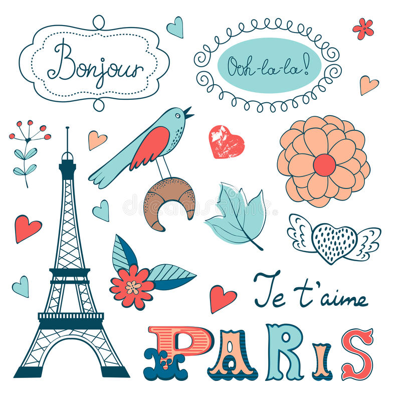 Beautiful collection of paris related graphic stock illustration