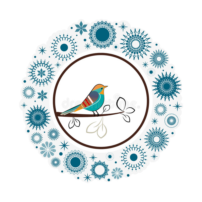 Free Beautiful Collection Snowflakes Colorful Bird Stock Photography - 32644572