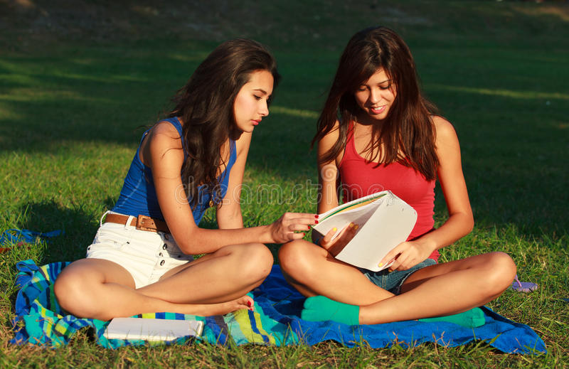 Beautiful college girls stock photos