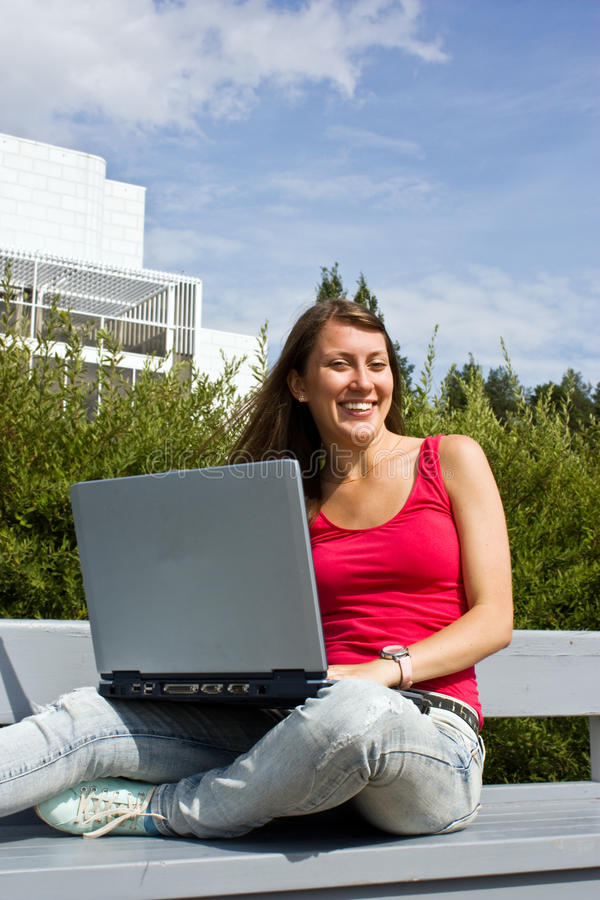 Free Beautiful College Student Working On Her Laptop Stock Photo - 16072030