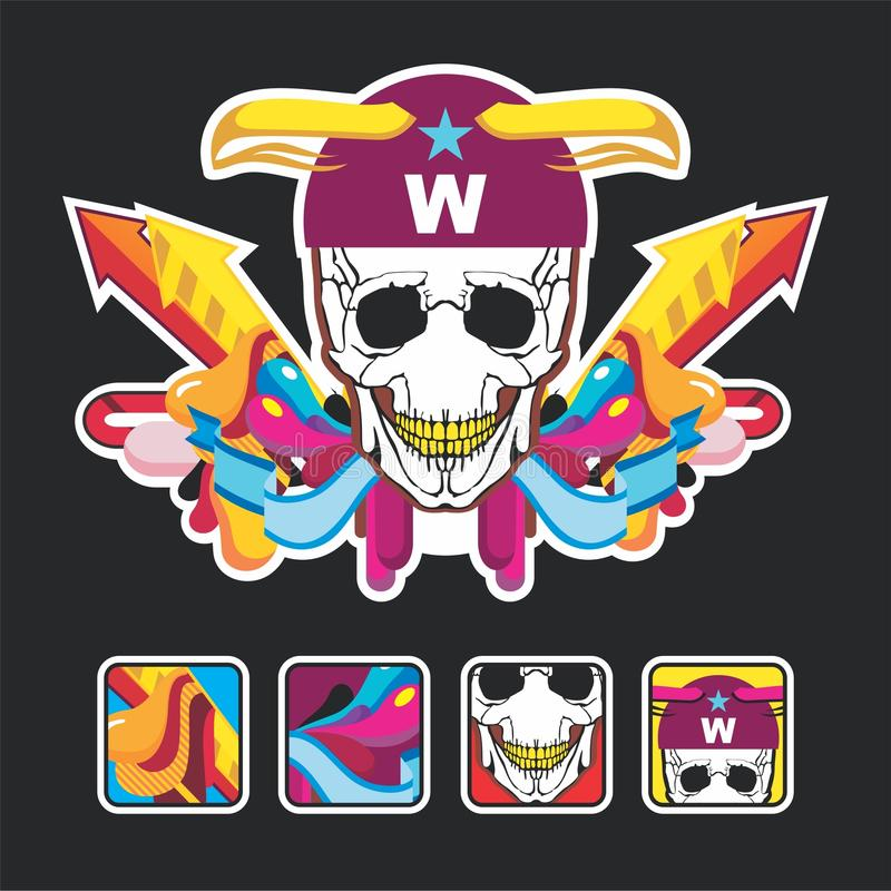 Download Beautiful Color Composition With A Skull And Icons Stock Vector - Image: 17152319