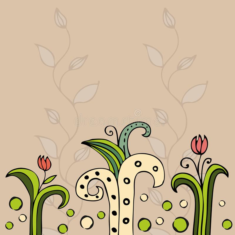 Beautiful color floral design card. stock illustration