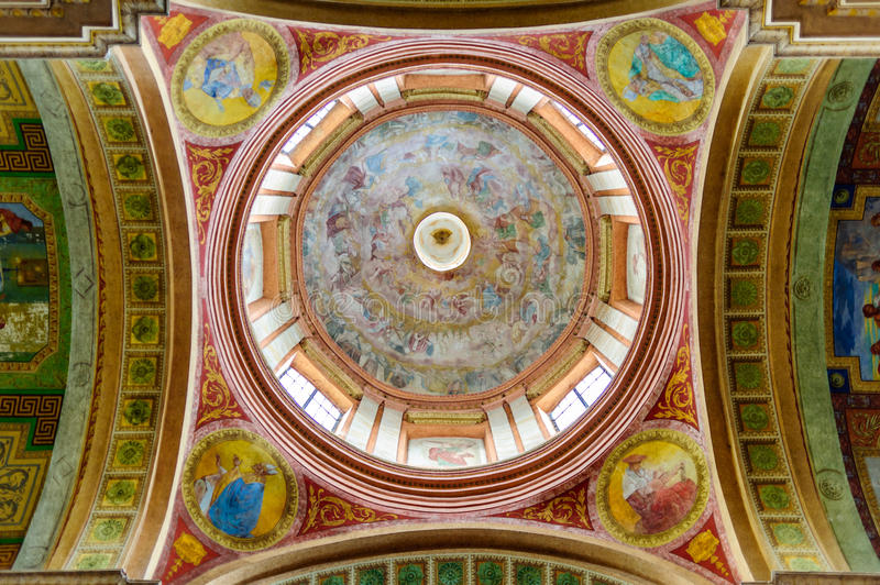 Beautiful colored dome of the basilica royalty free stock images