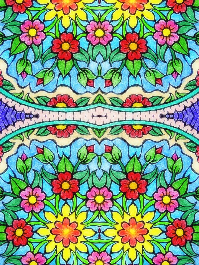 Beautiful colored flowers on paper, looks like mandala, Lithuania royalty free stock images