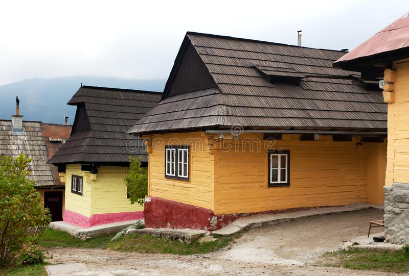 Beautiful colored houses in vlkolinec village stock photos