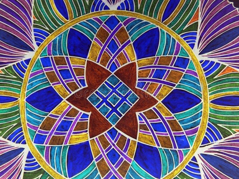 Colorful painted mandala stock illustration