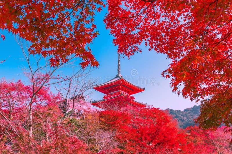 Beautiful colorful Architecture in Kiyomizu-dera Temple Kyoto, Japan stock photos