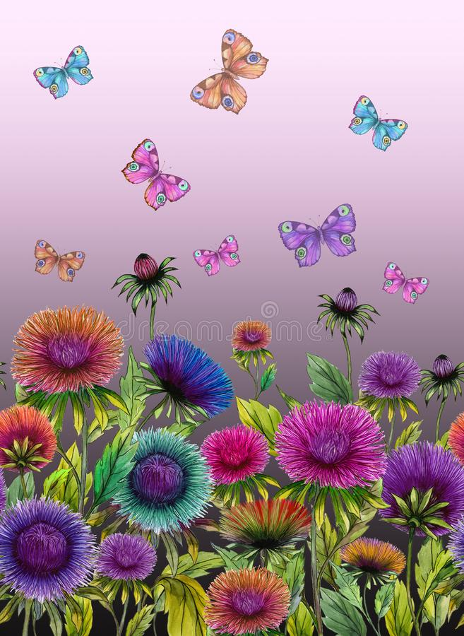 Beautiful colorful aster flowers and bright butterflies on purple background. Seamless floral pattern. Watercolor painting. Hand drawn and painted illustration stock illustration