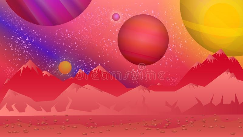 Alien background.Bright, colorful view from another planet. vector illustration
