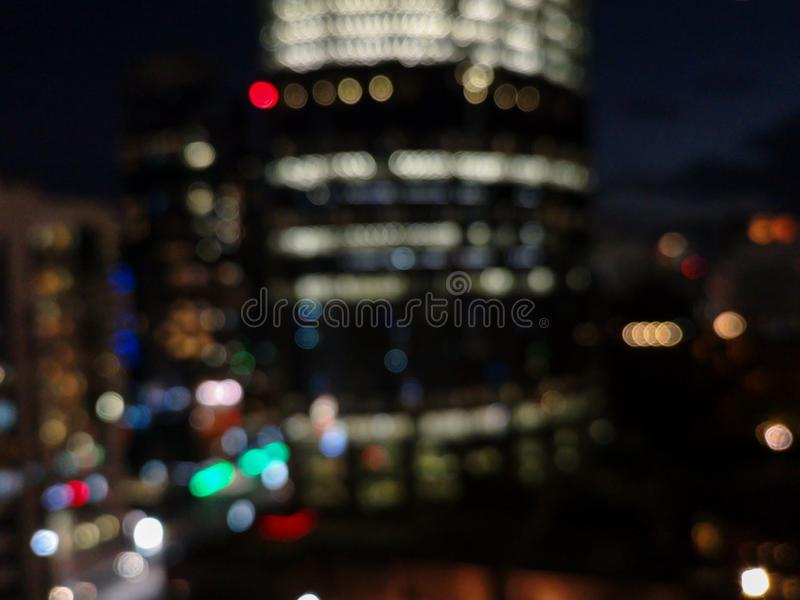 Beautiful colorful bokeh of the city skyline and streets at night time.  stock images
