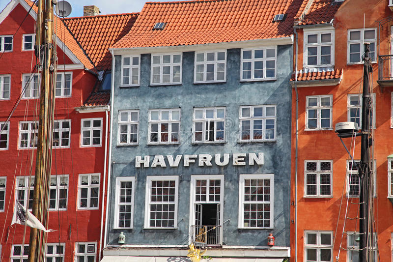 Beautiful colorful buildings in Copenhagen stock images