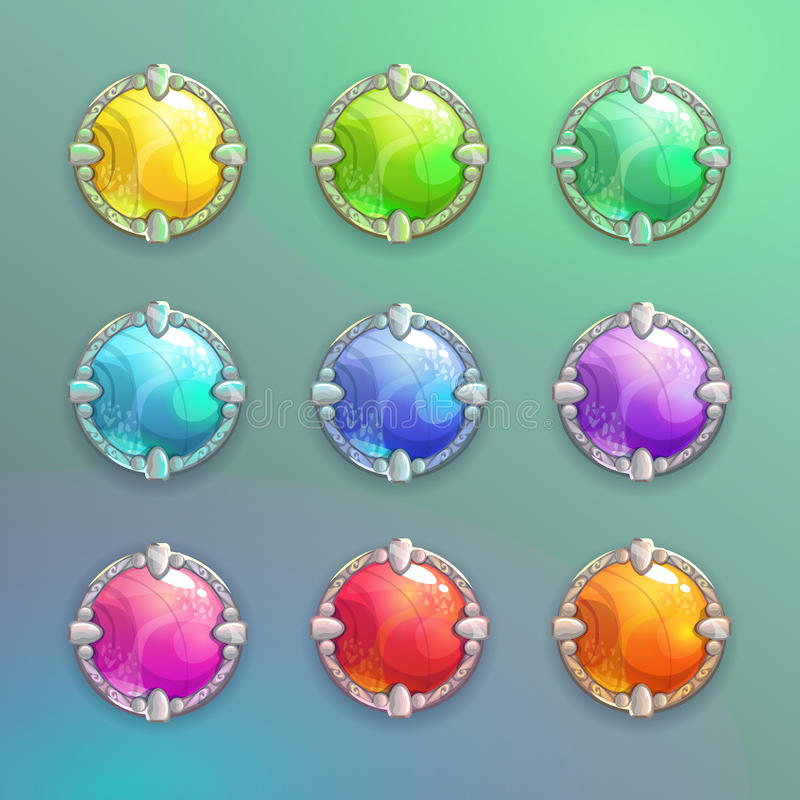Beautiful colorful cartoon crystal round buttons set. Vector assets for web or game design royalty free illustration