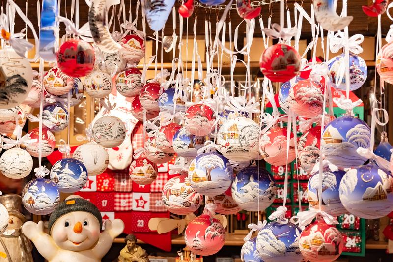 Beautiful colorful christmas decorations and balls in Wien Rathaus Market, Austria stock photo
