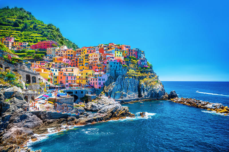 Beautiful colorful cityscape. On the mountains over Mediterranean sea, Europe, Cinque Terre, traditional Italian architecture stock image