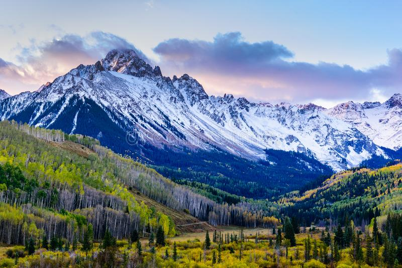 Beautiful and Colorful Colorado Rocky Mountain Autumn Scenery. Mt. Sneffels in the San Juan Mountains at Sunrise. Sunrise View of Mt. Sneffels on the Dallas stock photos