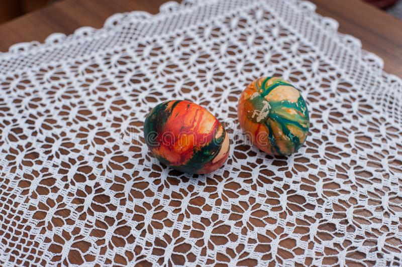 Beautiful colorful Easter eggs on wooden table. Protein source stock photography