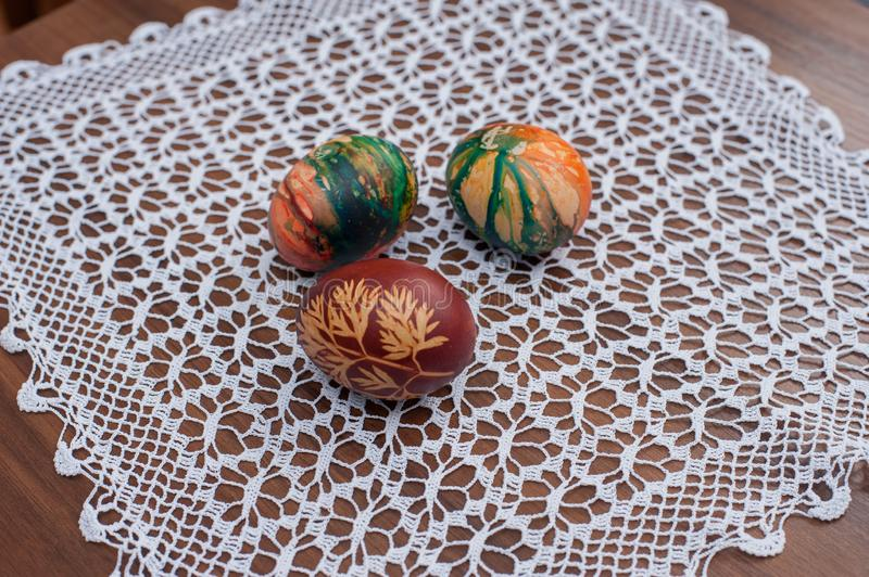 Beautiful colorful Easter eggs on wooden table. Protein source stock photos