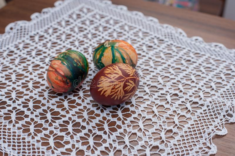 Beautiful colorful Easter eggs on wooden table. Protein source stock photo