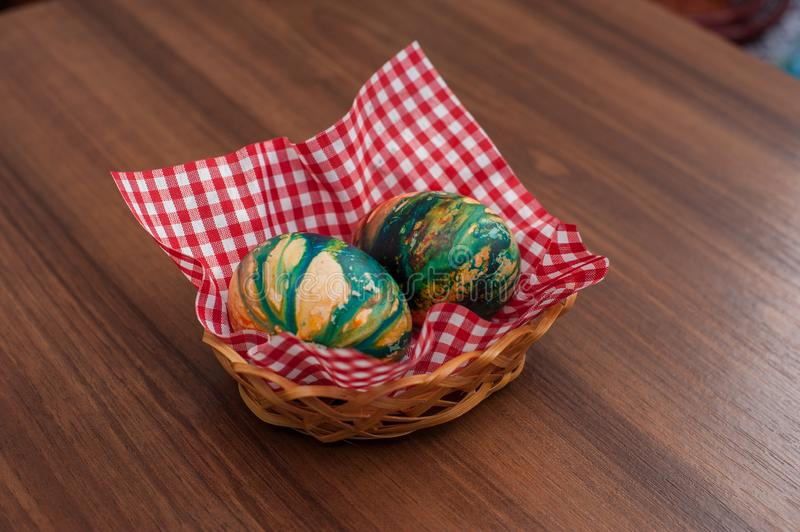 Beautiful colorful Easter eggs on wooden table. Protein source royalty free stock image
