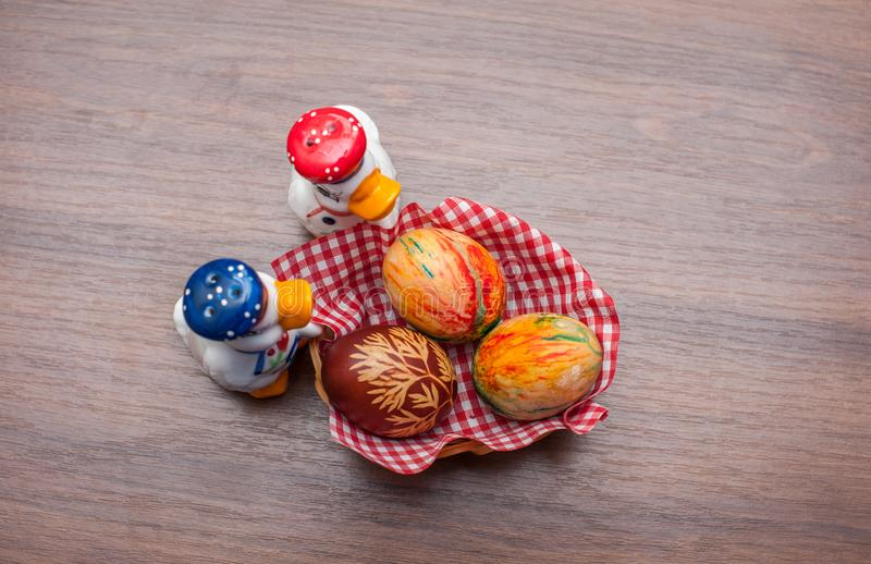 Beautiful colorful Easter eggs on wooden table. Protein source royalty free stock photos