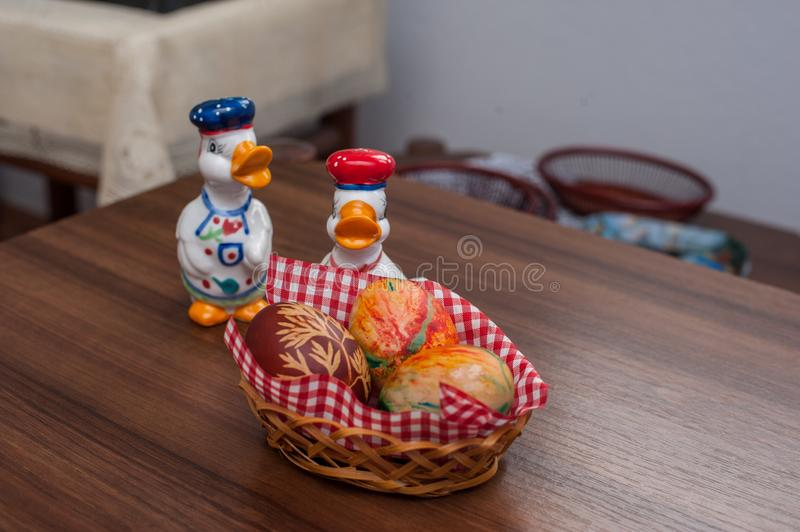 Beautiful colorful Easter eggs on wooden table. Protein source stock images