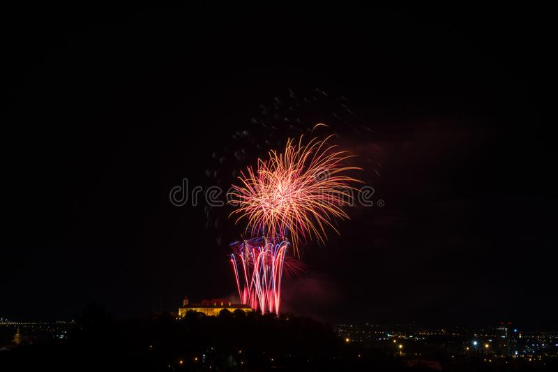 Beautiful colorful firework in city Brno on Spilberk stock image