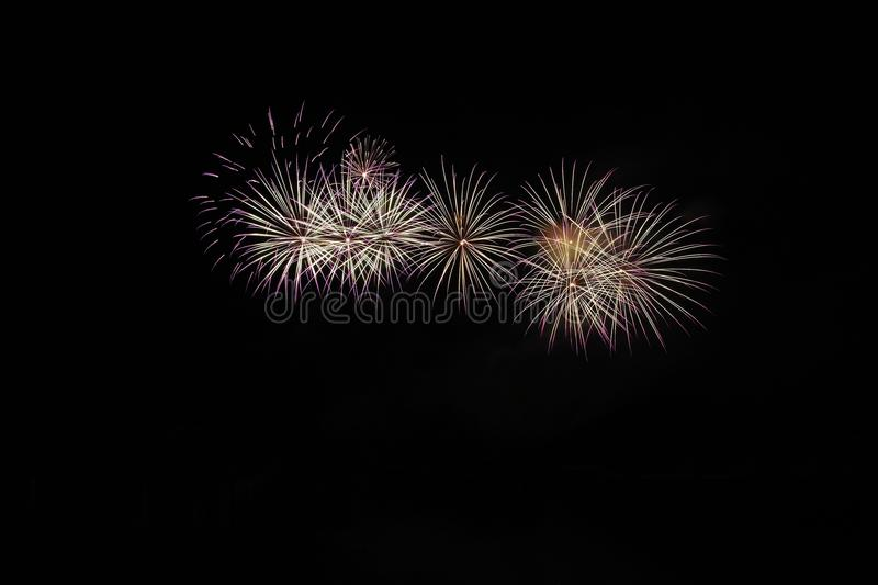 Beautiful colorful fireworks. Abstract background for celebrations and New Year. Brno dam, the city of Brno-Europe. International royalty free stock image