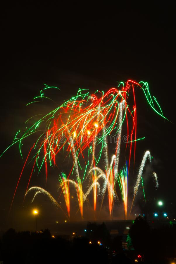 Beautiful colorful fireworks royalty free stock image