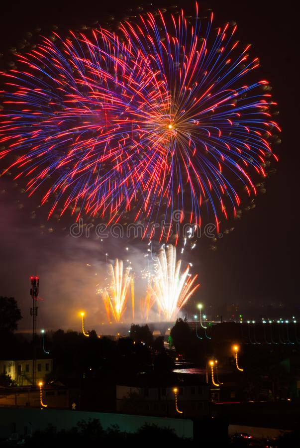 Beautiful colorful fireworks royalty free stock photo