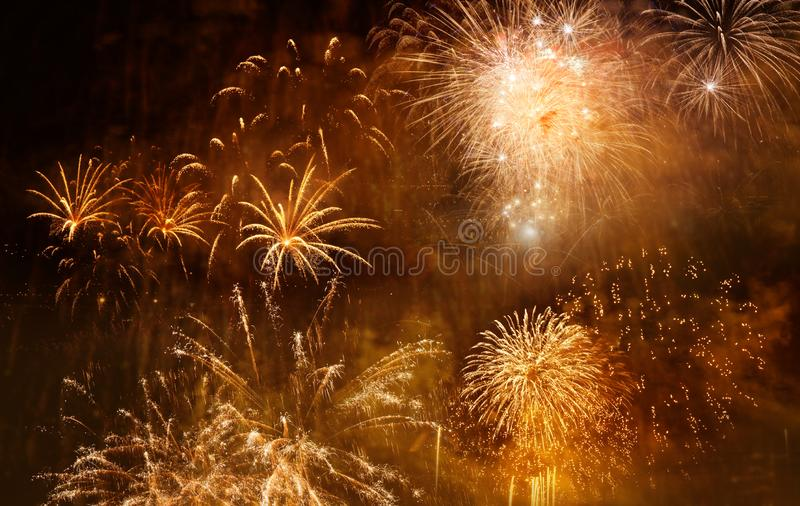 beautiful colorful fireworks at New Year and copy space - abstract holiday background stock images