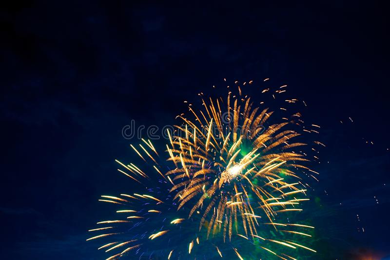 Beautiful colorful fireworks on sky. International Fireworks. Fireworks display on dark sky background. Independence Day, 4th of J stock image