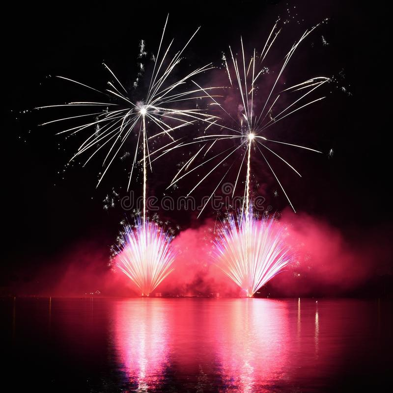 Beautiful colorful fireworks on water. Brno dam. International Fireworks Competition Ignis Brunensis. Brno - Czech Republic - Euro royalty free stock image