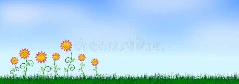 Spring Flower and Blue Sky Illustration Background stock illustration