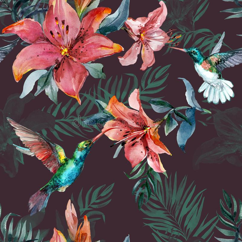 Beautiful colorful flying hummingbirds and red lily flowers on brown background. Exotic tropical seamless pattern. Watecolor painting. Hand painted royalty free illustration