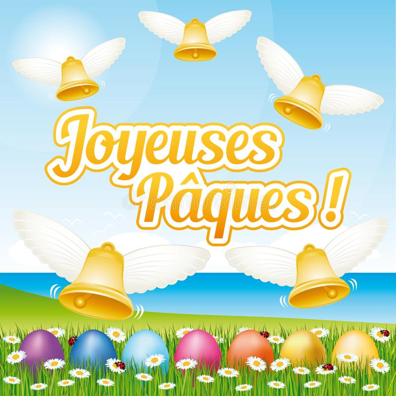 Beautiful and colorful French Happy Easter greeting card I with easter eggs and bells. royalty free illustration