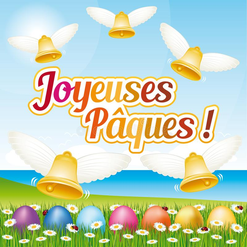 Beautiful and colorful French Happy Easter greeting card IV with easter eggs and bells. stock illustration