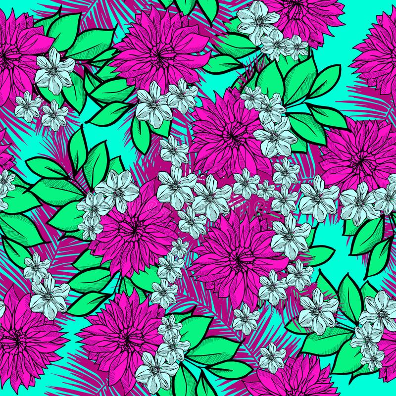Beautiful and colorful hand drawn hawaiian tropical flowers repeated pattern vector royalty free illustration