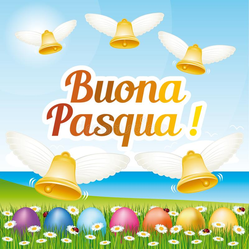 Beautiful and colorful Happy Easter greeting card with easter eggs and bells. Italian illustration I. royalty free illustration
