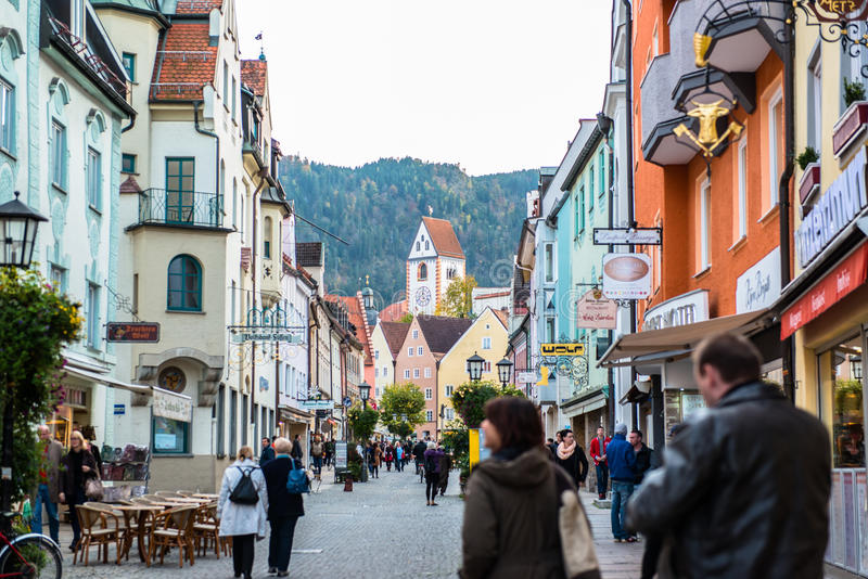 Beautiful colorful houses in Fussen, Germany royalty free stock images
