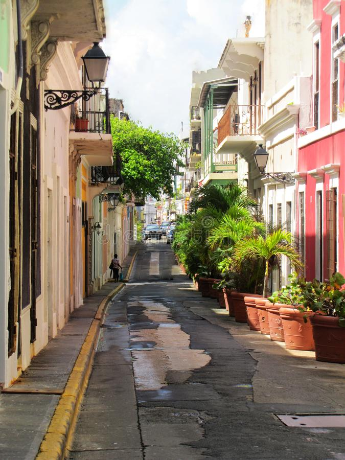 Colorful street of San Juan Puerto Rico stock photos