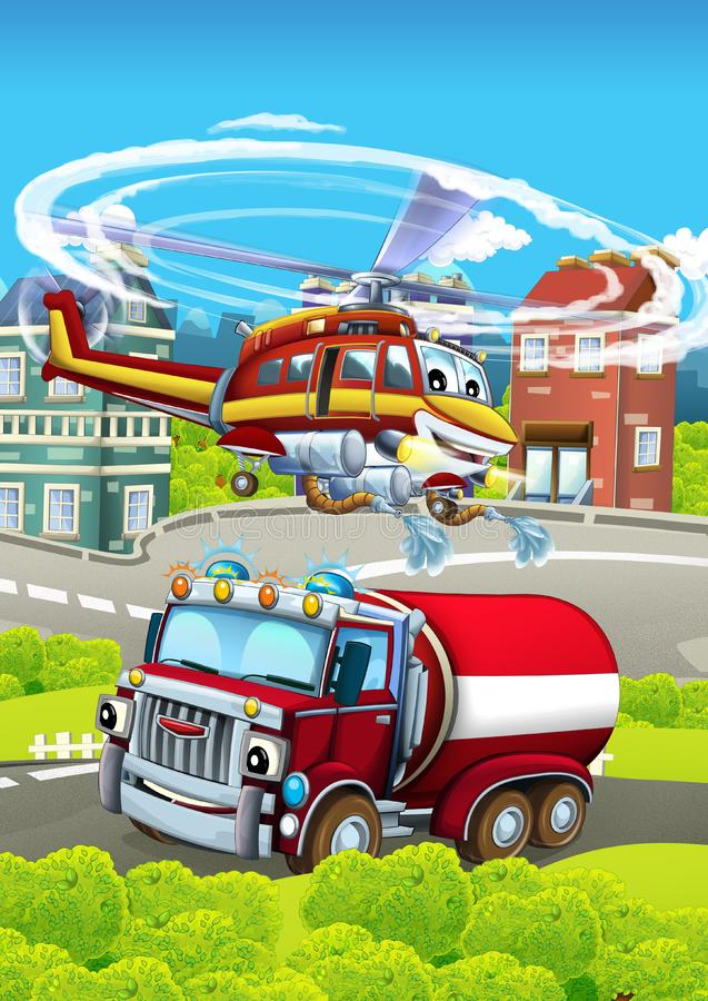 Cartoon stage with different machines for firefighting - truck and helicopter - colorful and cheerful scene. Beautiful and colorful illustration for children royalty free illustration