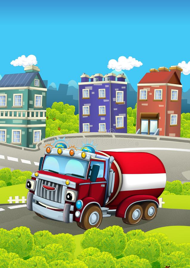 Cartoon stage with vehicle for firefighting cistern truck looking and smiling. Beautiful and colorful illustration for children royalty free illustration